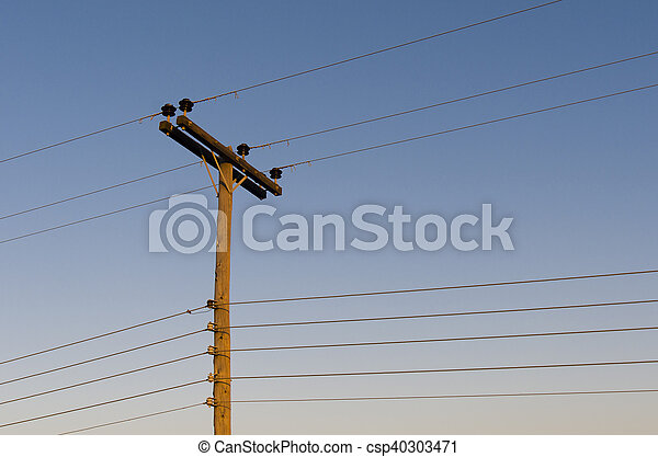 Power line on wooden poles - csp40303471
