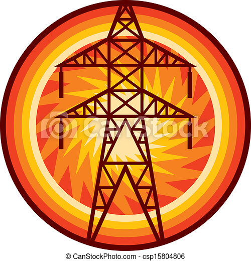 Power Line Symbol Silhouette Of And Electric Vector