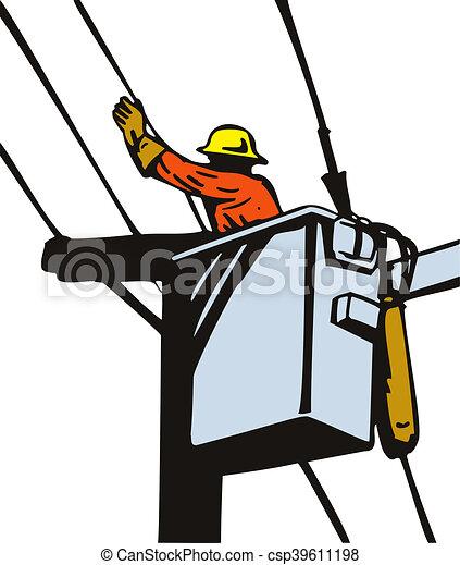 power lineman cherry picker illustration of a power lineman rh canstockphoto com power lineman clipart free lineman clipart