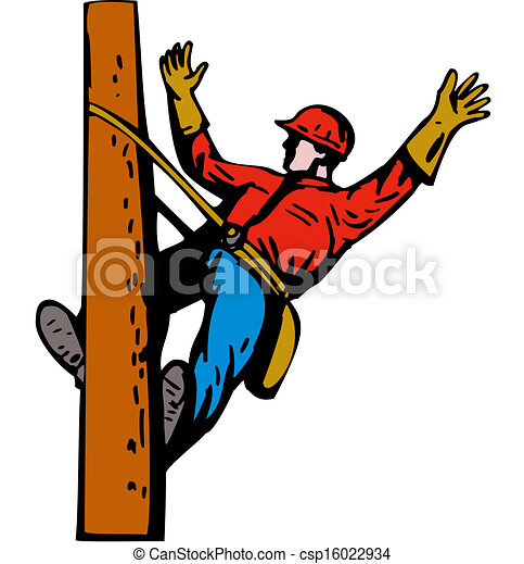 power lineman electrician leaning illustration of a power rh canstockphoto com lineman clipart electrical lineman clipart black and white