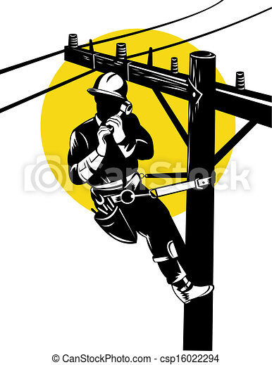 power lineman on phone illustration of a power lineman telephone rh canstockphoto com offensive lineman clipart power lineman clipart