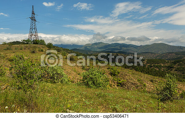 Power lines in mountains of Crimea - csp53406471