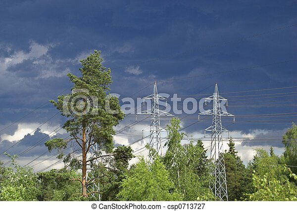 Power Lines on Stormy Sky - csp0713727