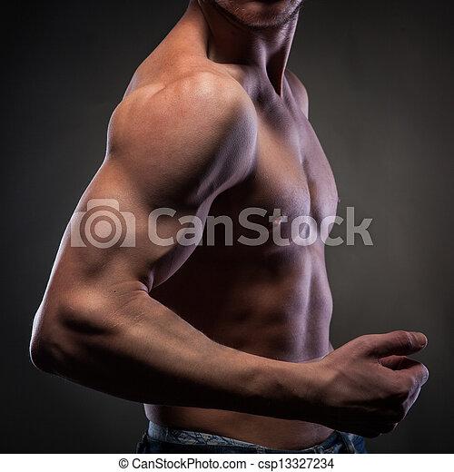 Power mens hand on black - csp13327234