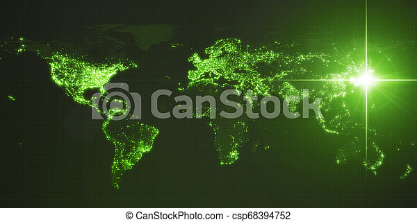 power of japan, energy beam on tokyo. dark map with illuminated cities and human density areas. 3d illustration - csp68394752