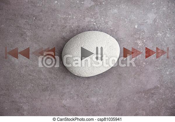 Power of now zen stone, mindfulness - csp81035941