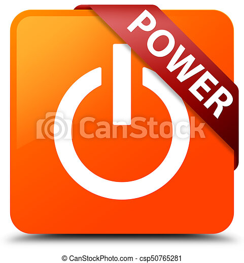 Power orange square button red ribbon in corner - csp50765281