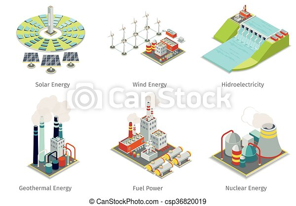 Power plant icons. Electricity generation plants and sources - csp36820019