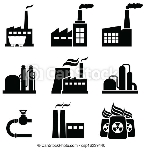 Power plants, factories and industrial buildings - csp16239440