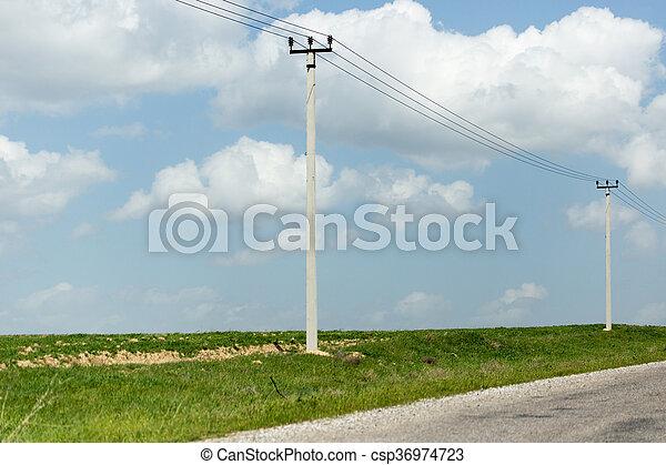 power poles in nature - csp36974723