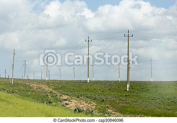 power poles in nature - csp30846096