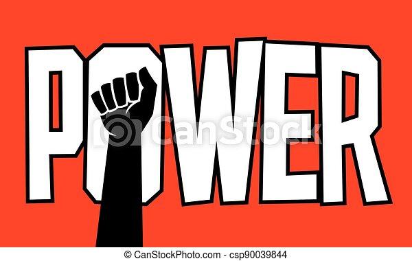 Power protest poster design design with raised fist. - csp90039844