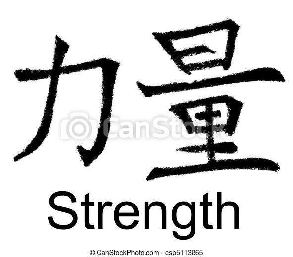 Power Chinese Characters For Power Strength Force Original Artwork