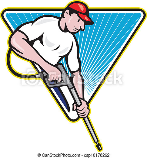 power washing pressure water blaster worker illustration of a rh canstockphoto com Pressure Washing Logo Design pressure washing clipart free to use