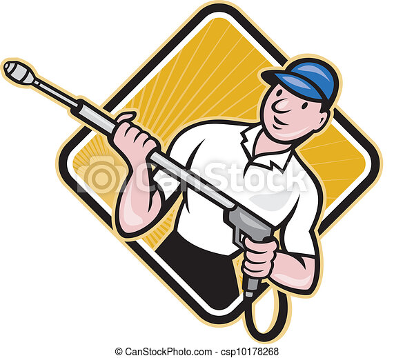 Power Washing Pressure Water Blaster Worker - csp10178268
