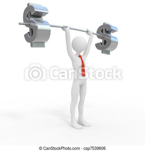 Powerful businessman lift dollar - csp7539606