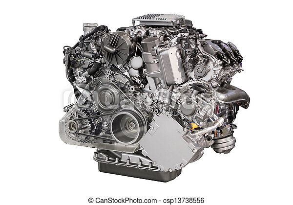 powerful car engine isolated on white - csp13738556