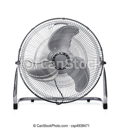Powerful Fan Floor Mounted Powerful Fan Isolated On White With