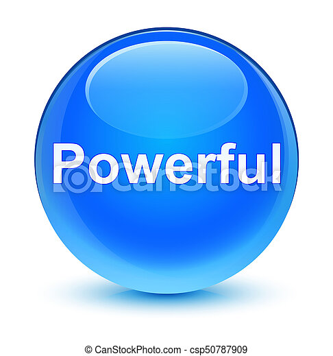 Powerful glassy cyan blue round button - csp50787909