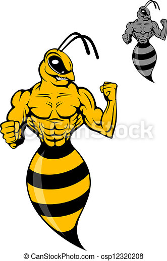 powerful wasp or yellow hornet in cartoon style for mascot vector rh canstockphoto com