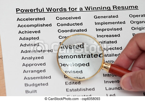 Powerful word for winning a resume - csp6058093