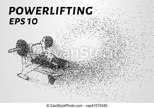 Powerlifting from the particles. Powerlifting of dots and circles. Powerlifting breaks down into smaller molecules. Vector illustration - csp41074340