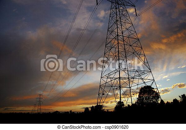 Powerlines at sunset2 - csp0901620