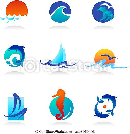 powinowaty, ikony, morze, zbiór - csp3069408