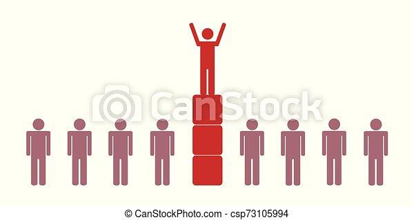 powodzenie, jeden, piktogram, osoba - csp73105994