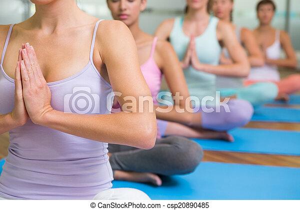 poza, yoga klasa, lotos, stosowność, studio - csp20890485