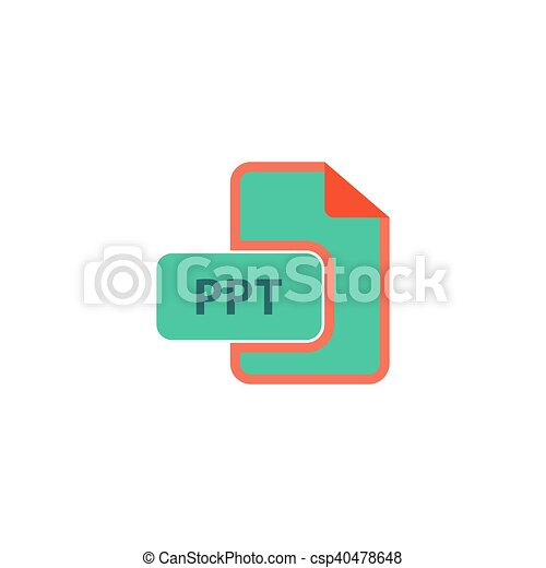 ppt icon vector flat simple color pictogram