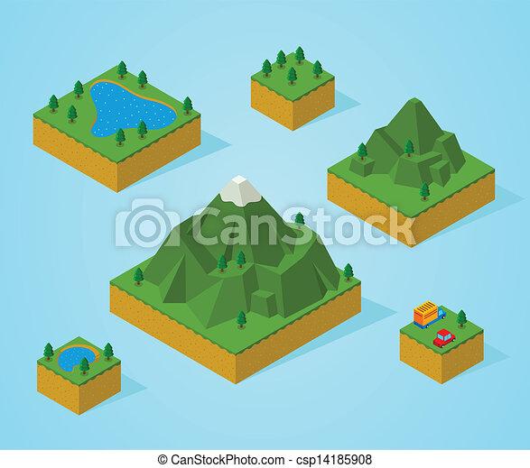 pré, isométrique, montage, map-mountain - csp14185908