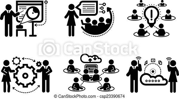 présentation, concept, collaboration, icones affaires - csp23390674