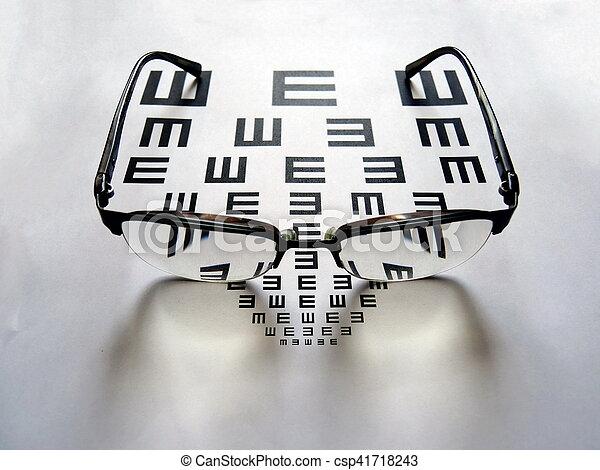 pr�fung, beäugen diagramm, brille - csp41718243