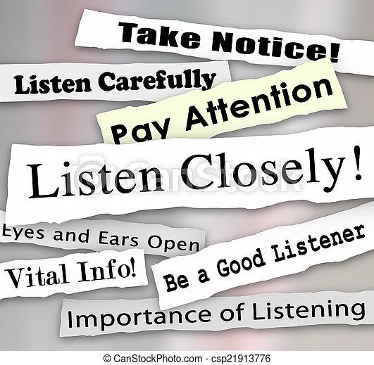 pròxima, pagar, atenção, palavras, jornal, manchetes, escutar - csp21913776