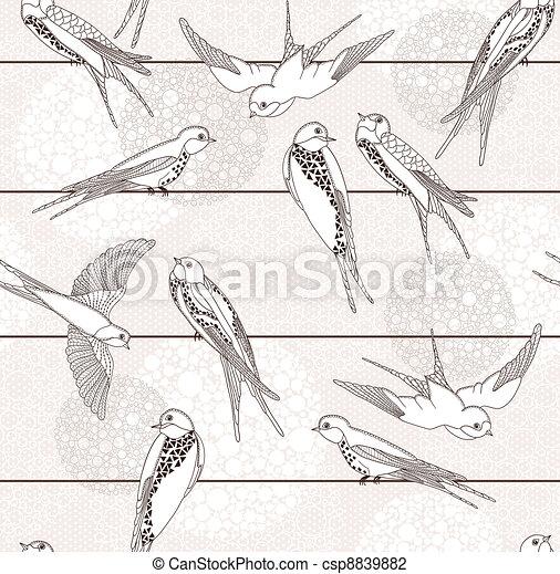 próbka, abstrakcyjny, seamless, ptak - csp8839882