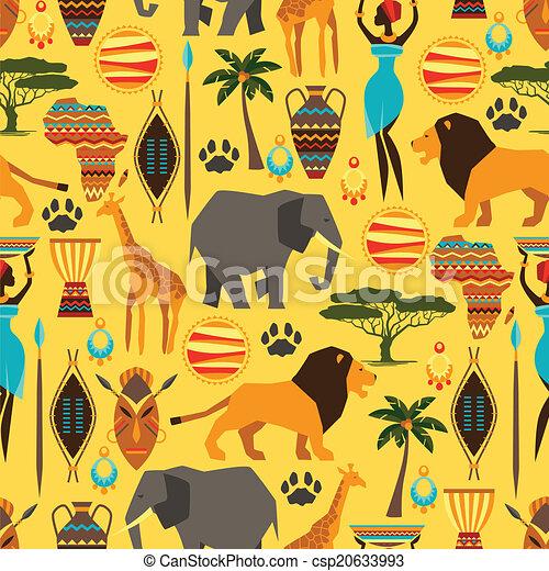 próbka, afrykanin, seamless, icons., stylizowany, etniczny - csp20633993