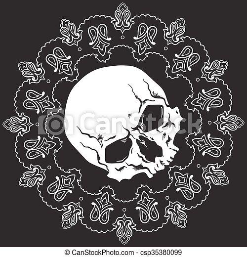 próbka, bandana, projektować, czaszka - csp35380099