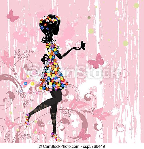 próbka, dziewczyna, kwiaty - csp5768449
