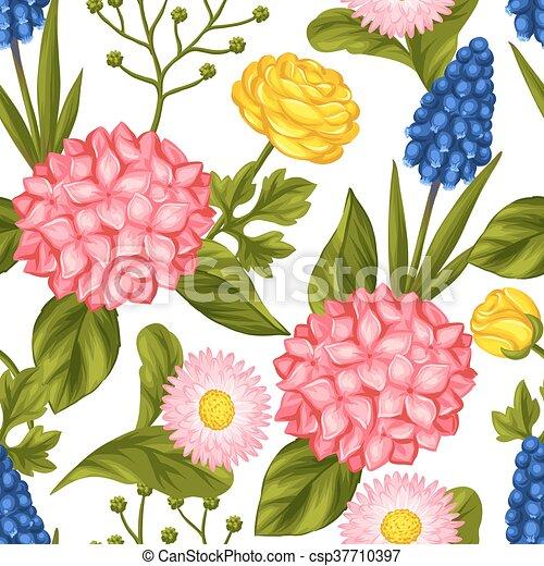 próbka, kwiaty, seamless, ogród - csp37710397