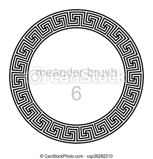 próbka, meandry, ozdoba, okrągły - csp36282210