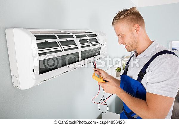 Prüfung, konditionierer, elektriker, luft. Elektriker,... Stockfoto ...