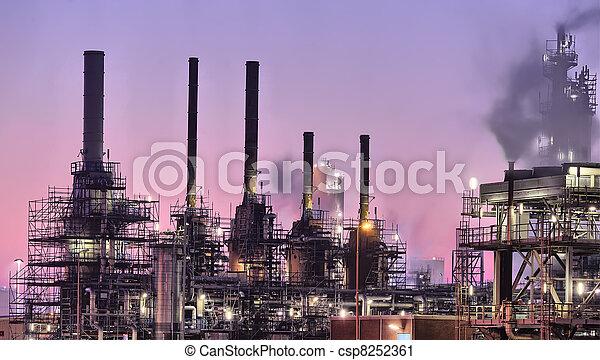 průmyslový, dějiště, večer - csp8252361
