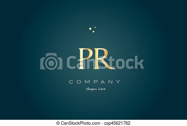 pr p r gold golden luxury alphabet letter logo icon template pr