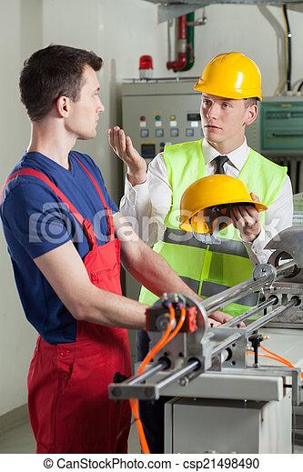 praca, fabryka, bezpieczeństwo, mając władzę, podczas, inspektor - csp21498490