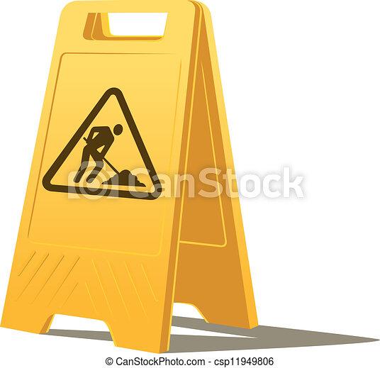 praca, ostrożność, mężczyźni, znak - csp11949806