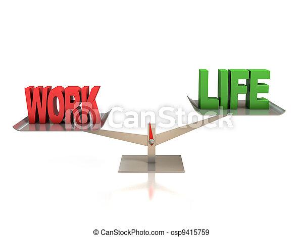 praca, waga, życie, pojęcie, 3d - csp9415759