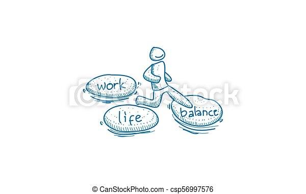 praca, waga, życie, wektor, szablon - csp56997576