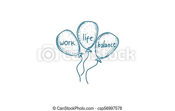 praca, waga, życie, wektor, szablon - csp56997578
