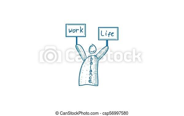 praca, waga, życie, wektor, szablon - csp56997580